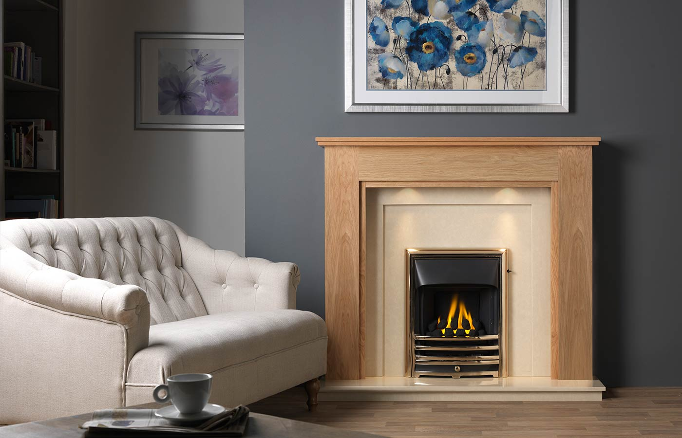 Atwick Fireplace Suite in Light Oak Veneered MDF with Perla Marble Back Panel and Hearth, with Gallery Aurora Antique Brass Finish, with Open-Fronted Gas Convector Fire