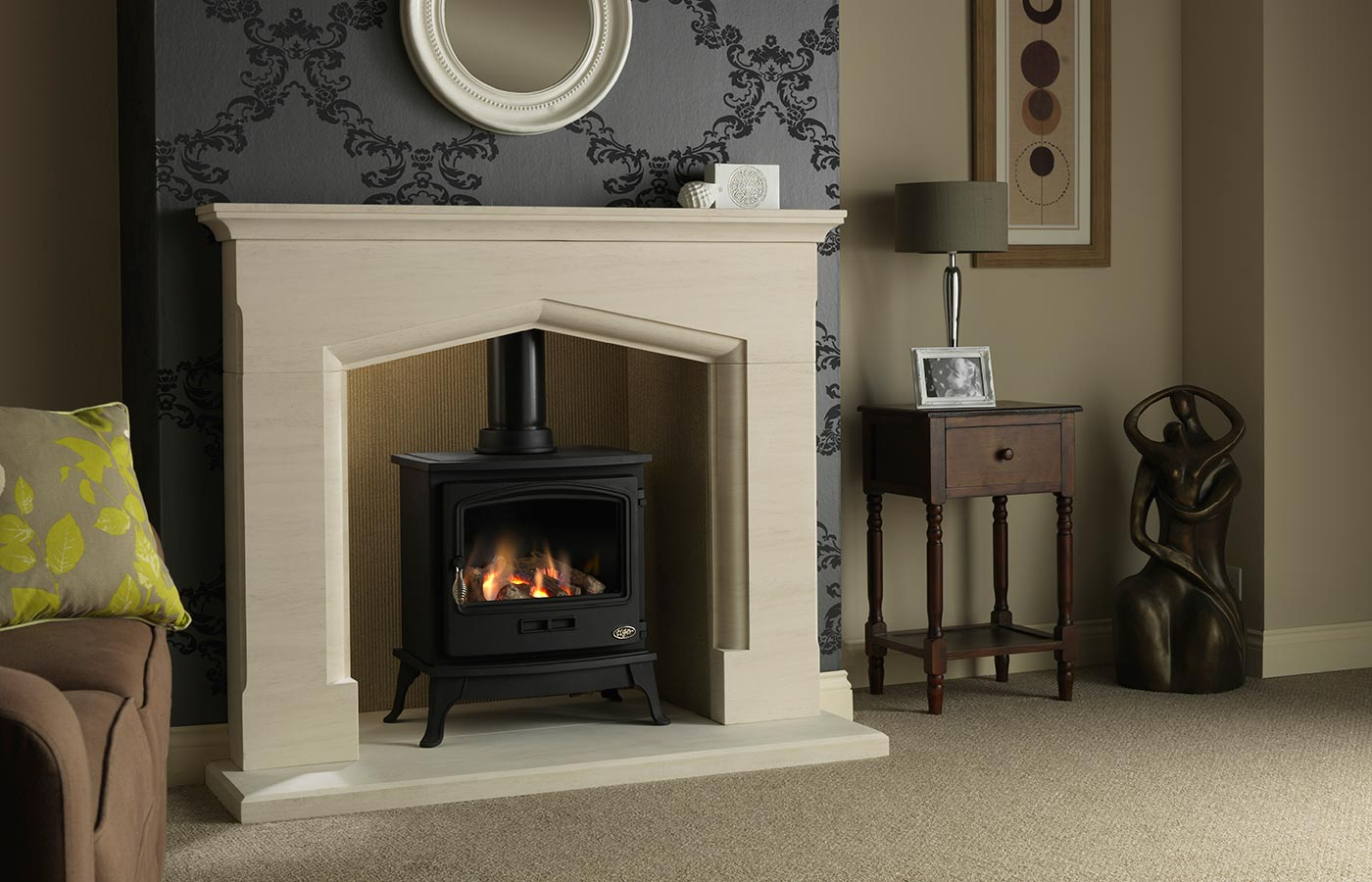 """Tiger Gas Stove with Consiton 54"""" Portuguese Limestone Suite, Natural Reeded Fireboard Chamber and Portuguese Limestone Back Hearth"""