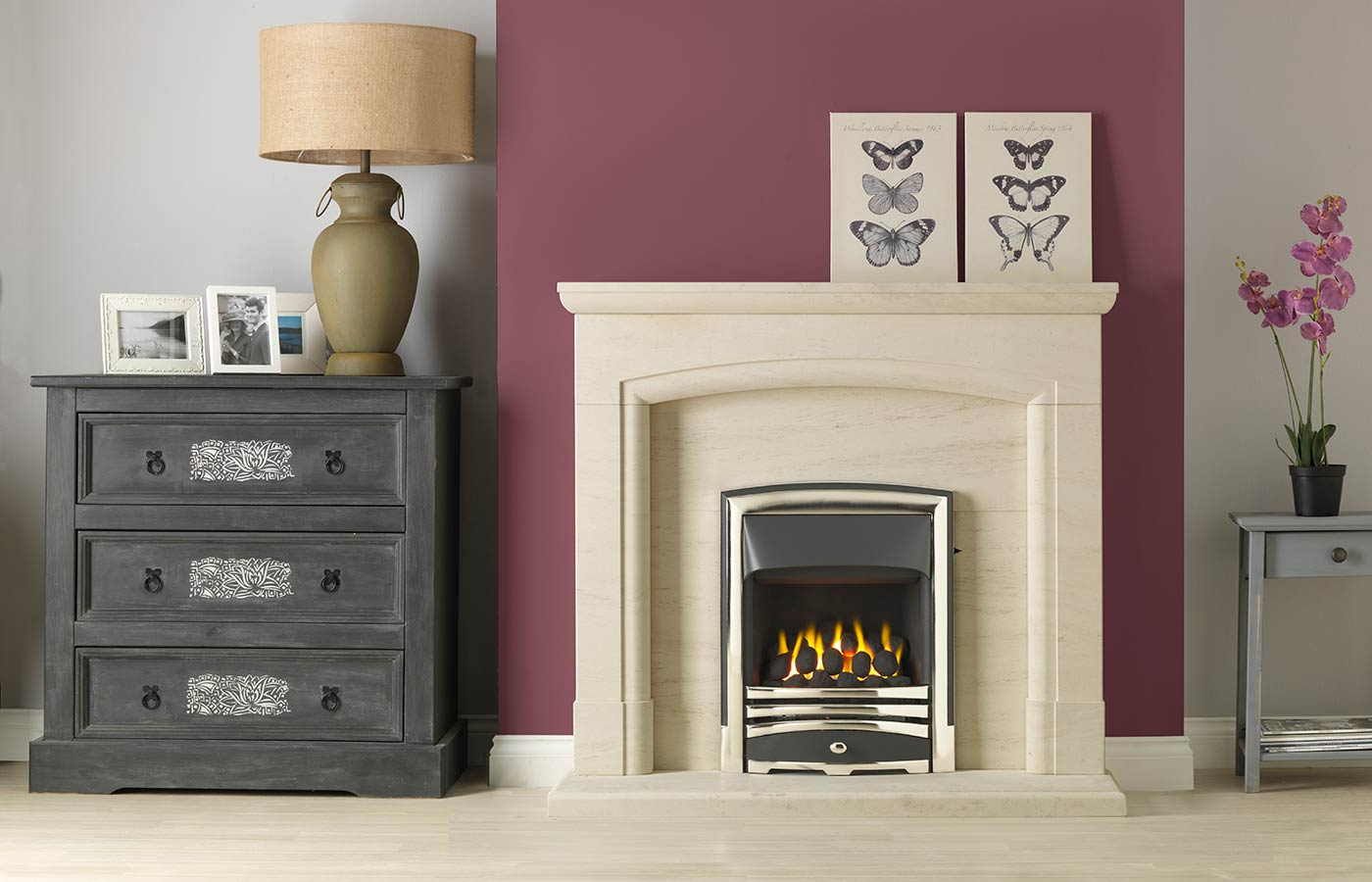 """Swainby 48"""" Fireplace Suite in Portuguese Limestone with Vision Callisto (Chrome) and Open-Fronted Gas Convector Fire (Slide Control)"""
