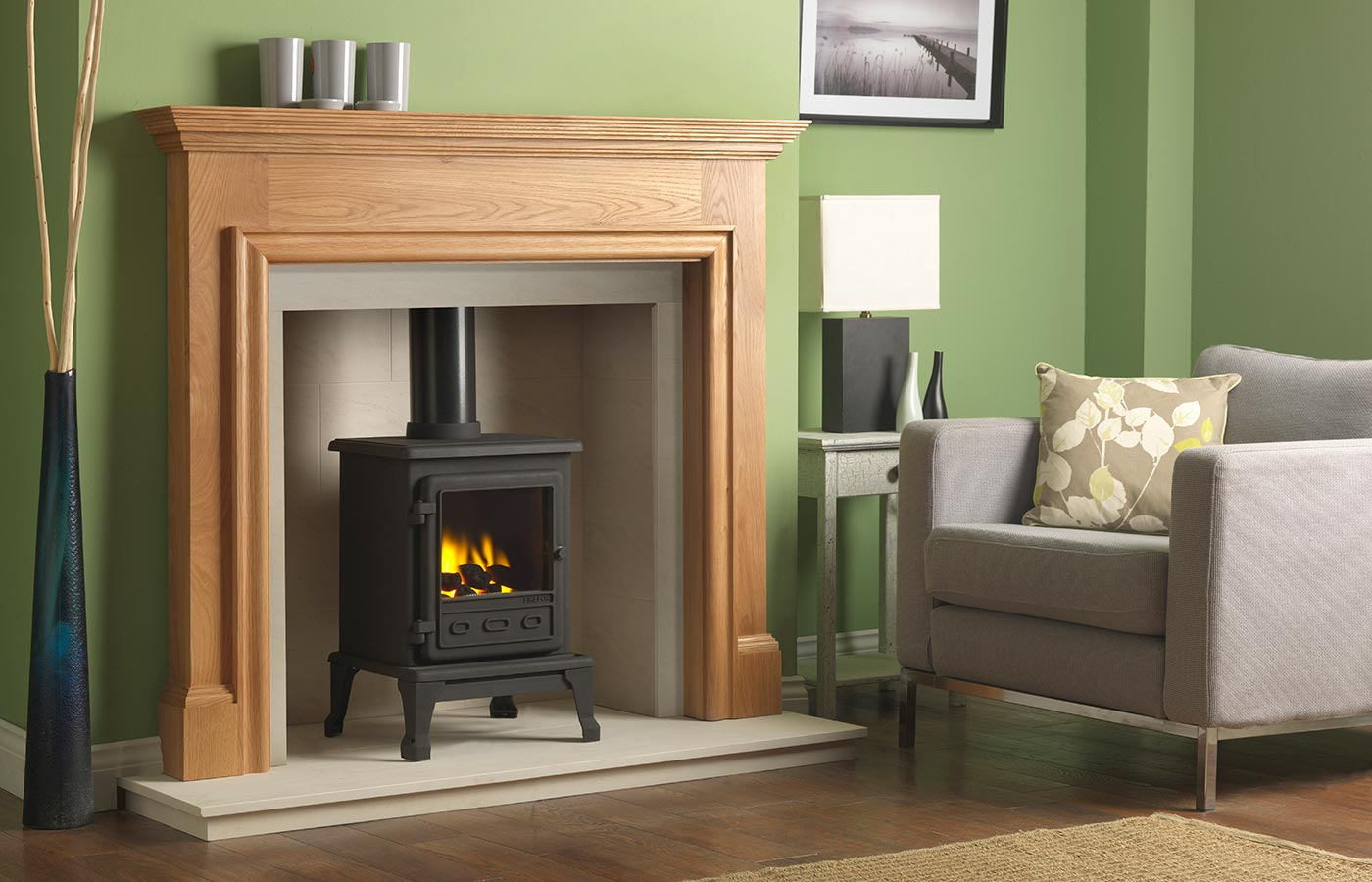 Firefox 5 Gas Stove with Oak Howard Mantel, Portuguese Limestone Chamber, Portuguese Limestone Slips, Portuguese Limestone Hearth