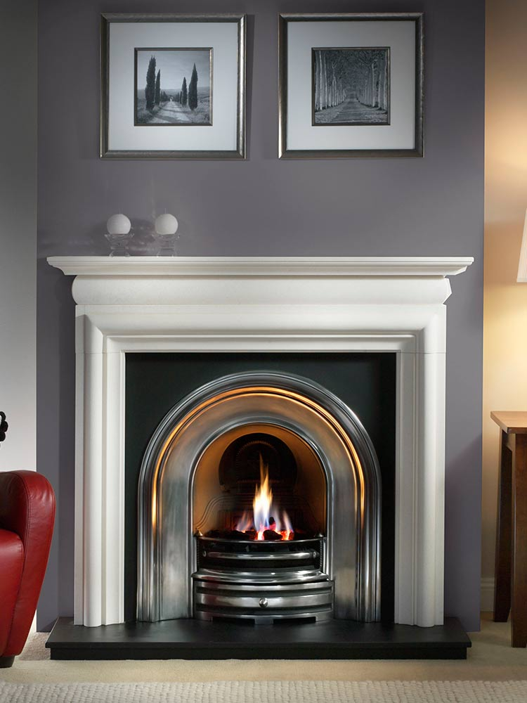 """Asquith 55"""" Agean limestone mantel with Crown highlight arched insert, decorative gas fire with ceramic coals and 54"""" slate hearth"""