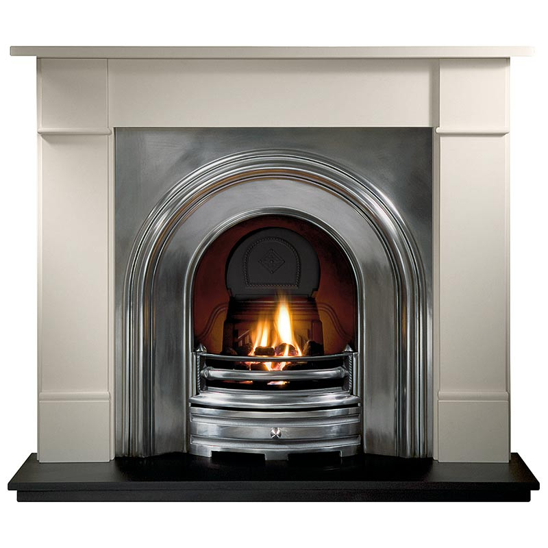 """Brompton 56"""" Agean limestone mantel with Crown full-polished arched insert, decorative gas fire with ceramic coals and 54"""" slate hearth"""
