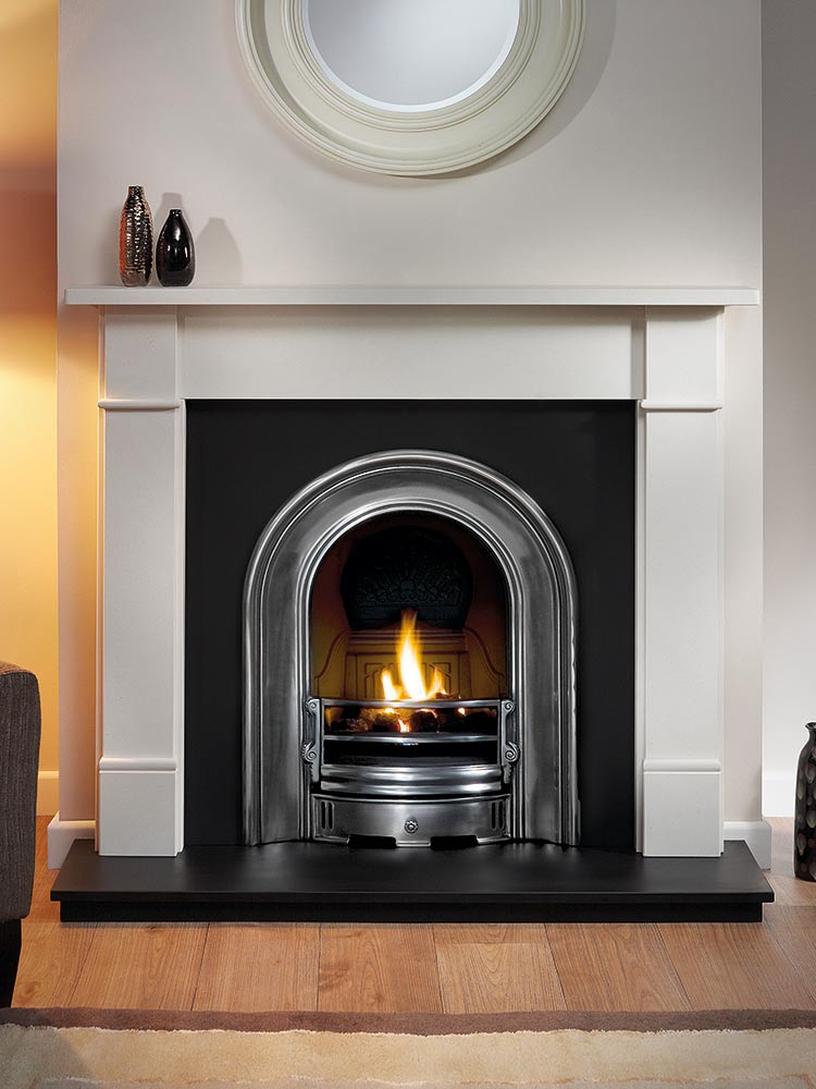 """Brompton 51"""" Agean limestone mantel with Coronet half-polished arched insert, decorative gas fire with ceramic coals and 51"""" slate hearth"""