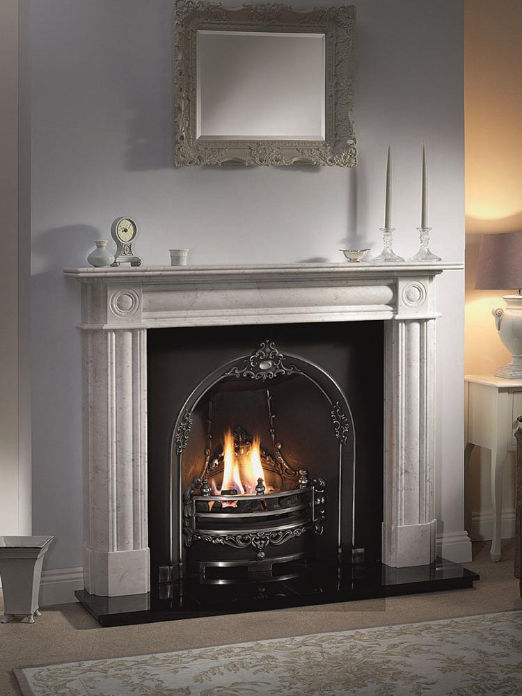 """Chiswick 56"""" Carrara marble mantel with Gloucester highlight cast iron insert, real coal fire and 54"""" slabbed granite hearth"""