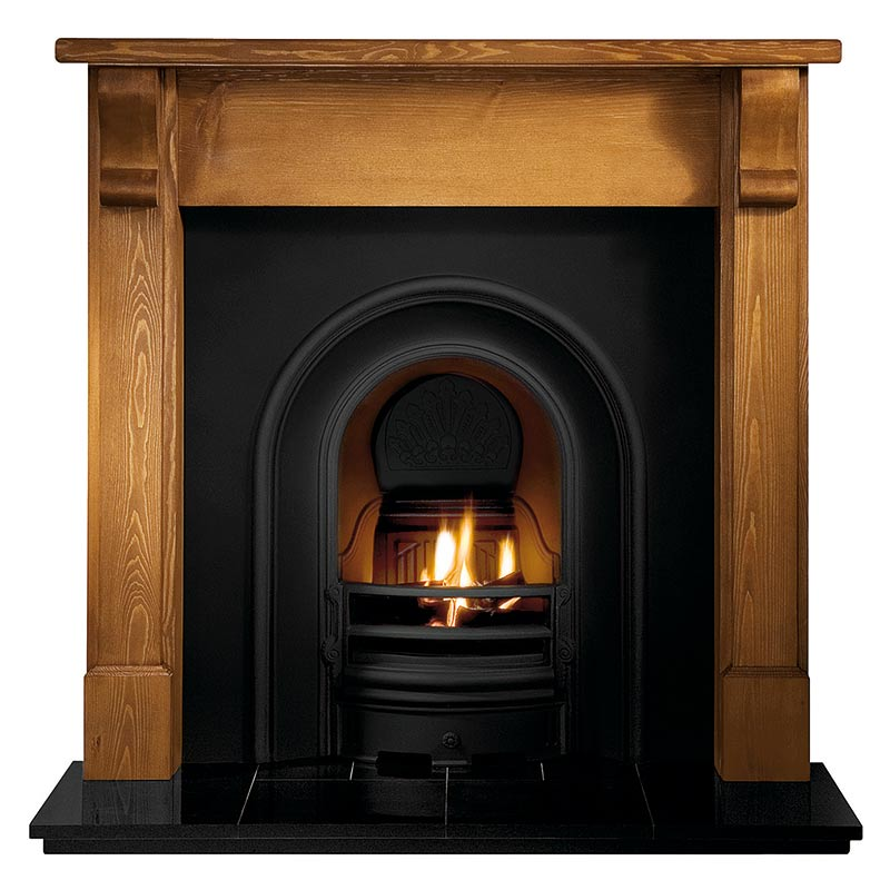 """Bedford 48"""" pine mantel with Coronet black arched insert, real log fire and 48"""" slabbed granite hearth"""