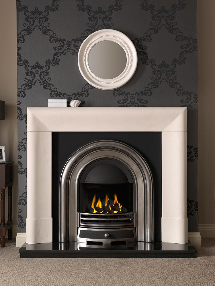 """Delection 52"""" Agean limestone mantel with Jubilee half-polished Efficiency Plus Insert, glass-fronted gas convector fire (remote control) and 54"""" granite hearth"""