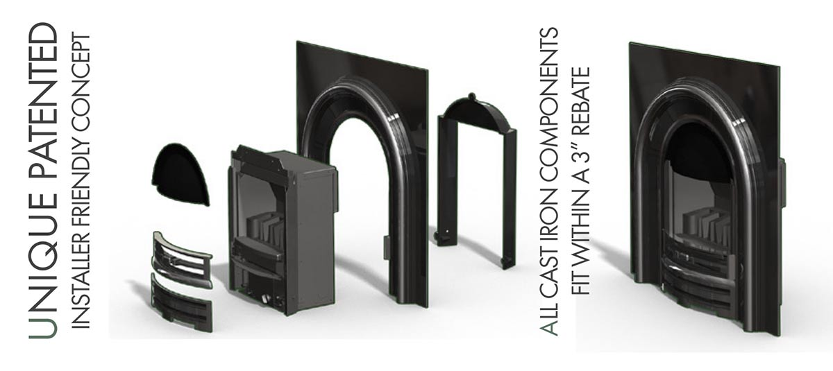 """Unique, patented,  installer-friendly concept - all cast iron components fit within a 3"""" rebate"""