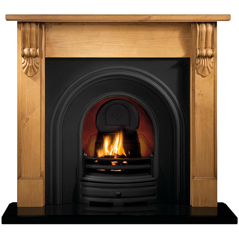 """Grand Corbel 54"""" pine mantel with Crown black arched insert, decorative gas fire with ceramic coals and 54"""" bevelled granite hearth"""