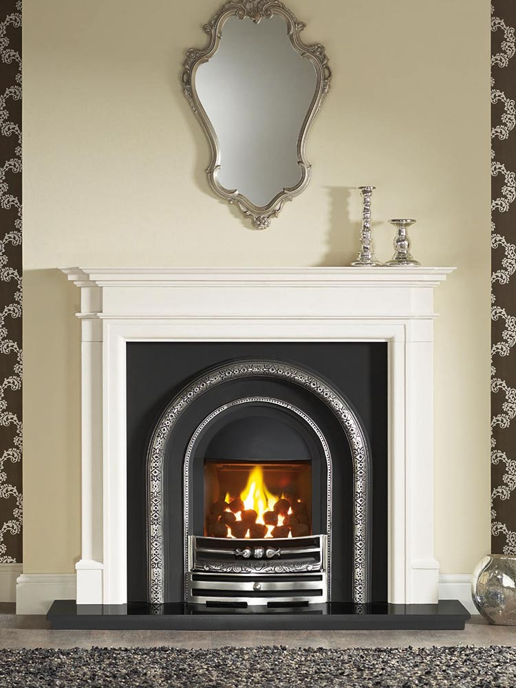 """Bartello 54"""" Agean limestone mantel with Lytton half-polished Efficiency Plus Insert, glass-fronted gas convector fire (remote control) and 54"""" granite hearth"""