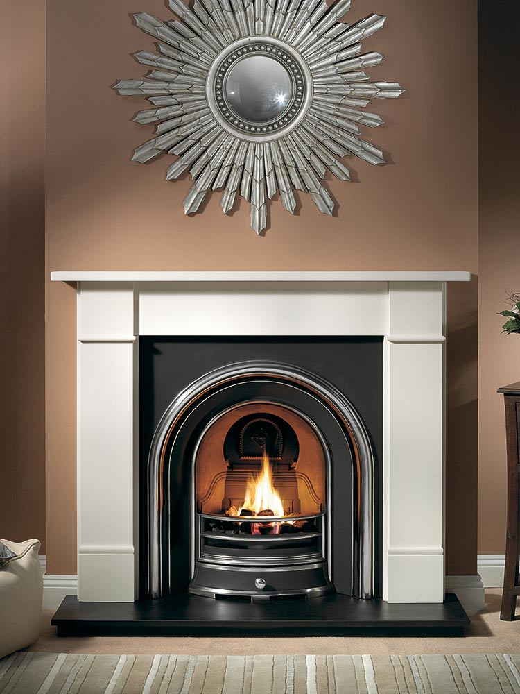 """Brompton 56"""" Agean limestone mantel with Jubilee highlight insert, decorative gas fire with ceramic coals and 54"""" slate hearth"""