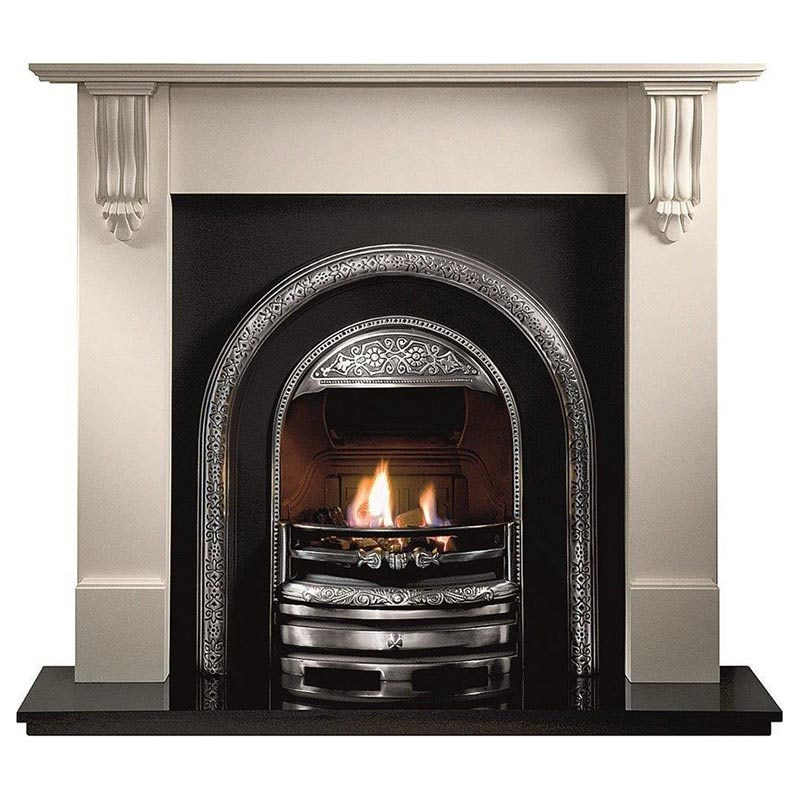 """Richmond 54"""" Agean limestone mantel with Bolton highlight arched insert, Powerflue (no chimney option) and 54"""" granite hearth"""
