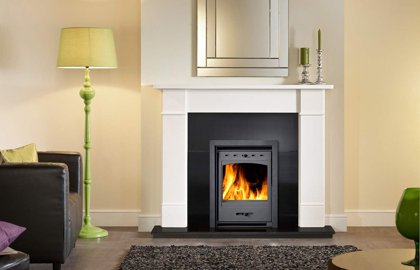 Helios Inset Clean Burn Stove Shown with Brompton Surround