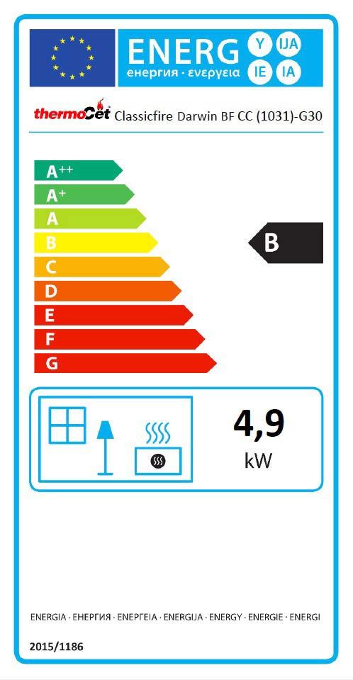 Darwin Balanced Flue LPG Stove Energy Label