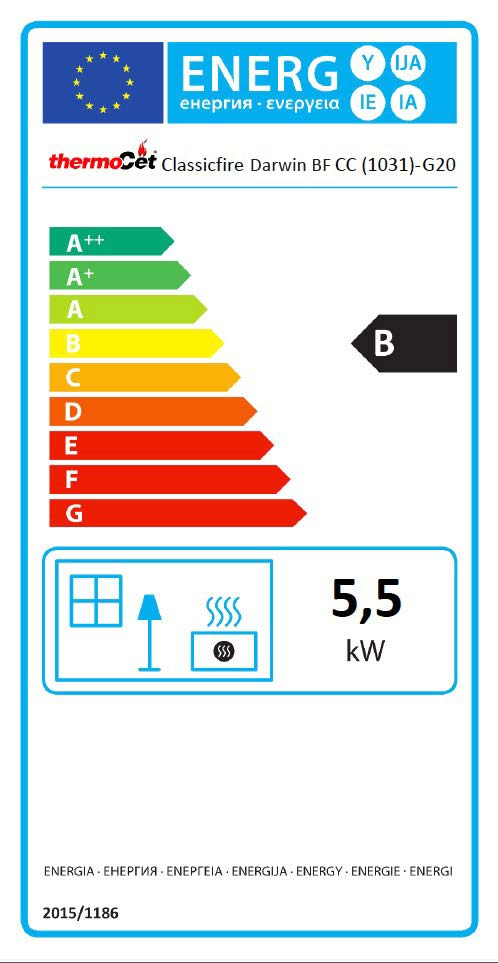 Darwin Balanced Flue Natural Gas Stove Energy Label