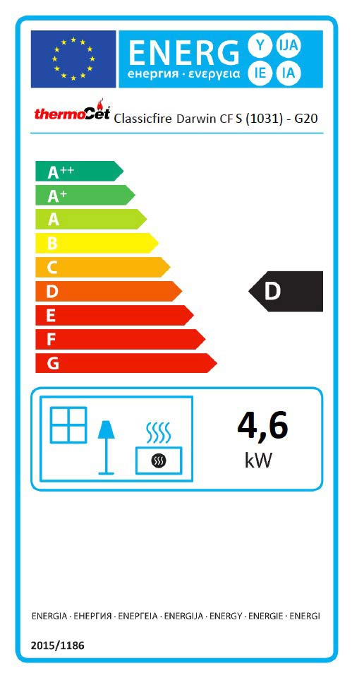 Darwin Conventional Flue Natural Gas Stove Energy Label