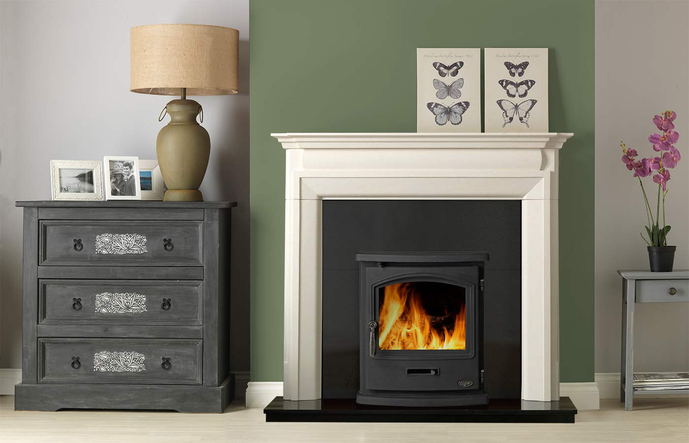 """Swainby 48"""" Fireplace Suite in Portuguese Limestone with Tiger Inset Stove"""