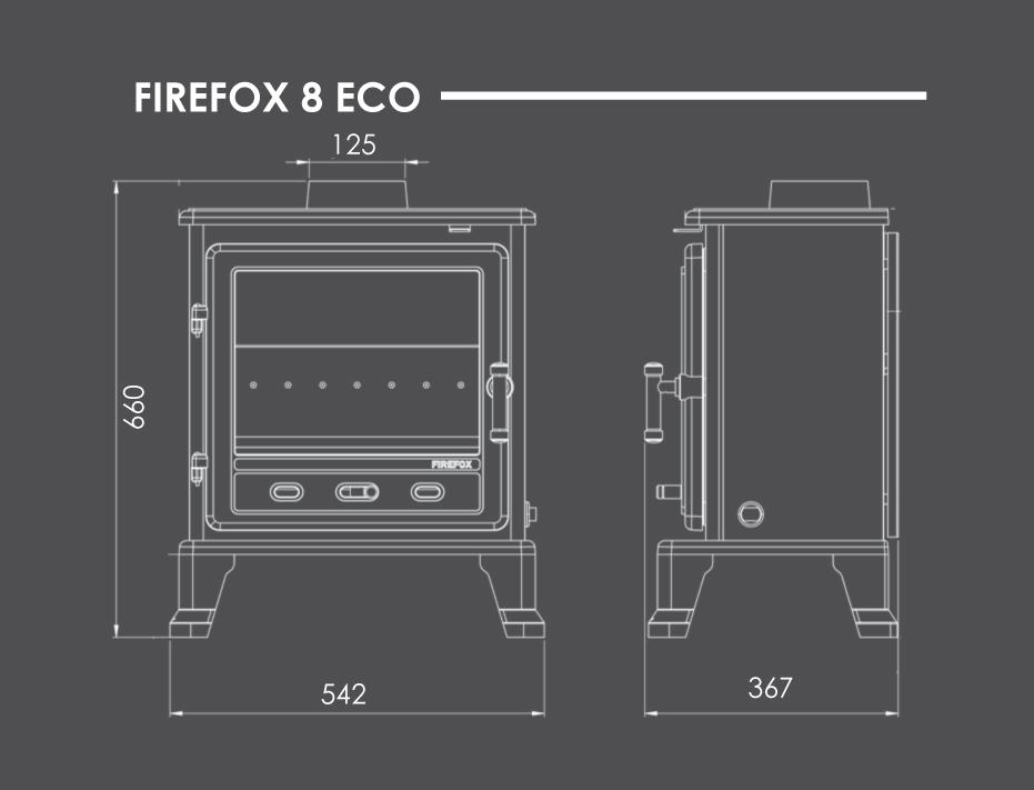Firefox 8 Eco Stove Dimensions