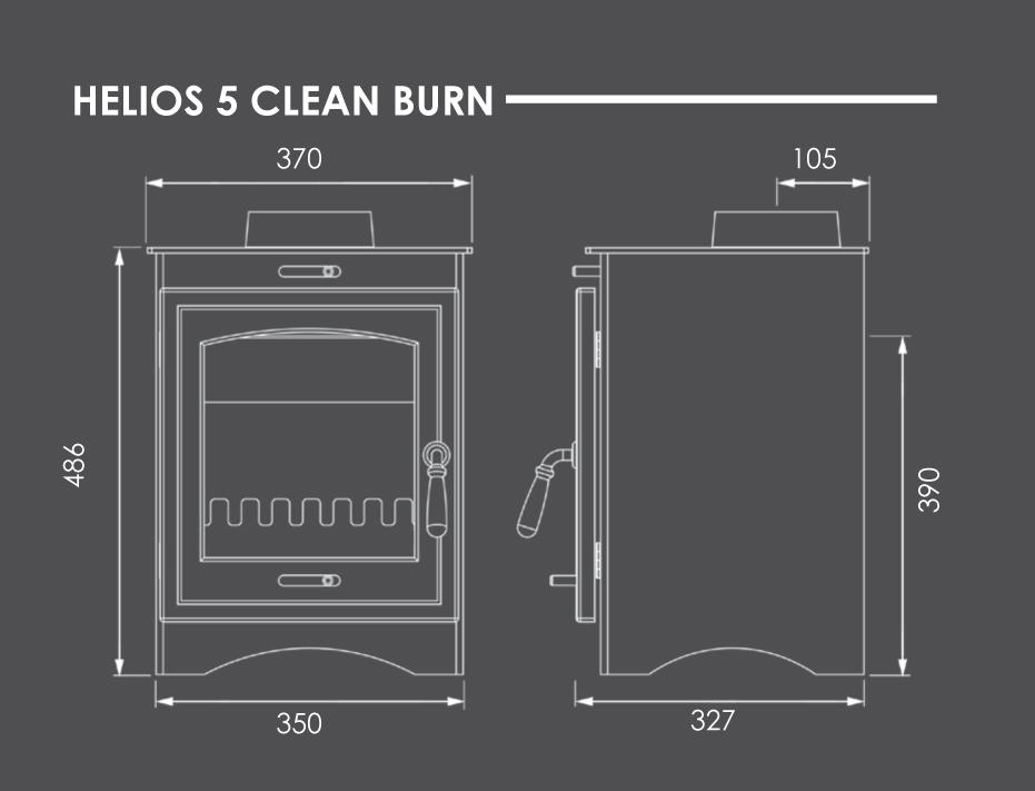 Helios 5 Clean Burn Stove Dimensions