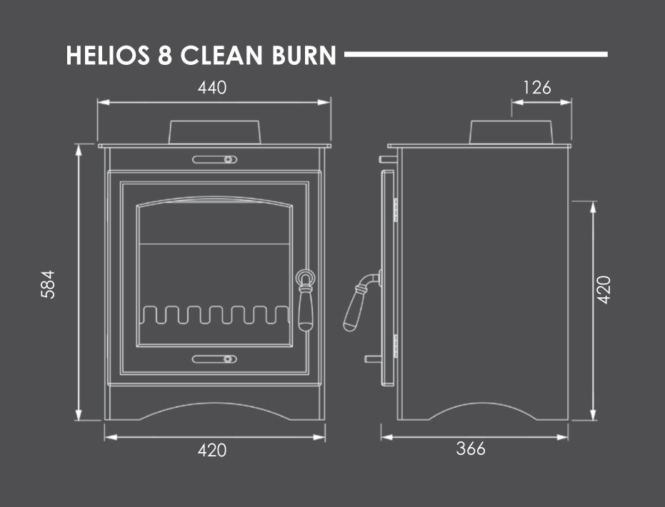 Helios 8 Clean Burn Stove Dimensions