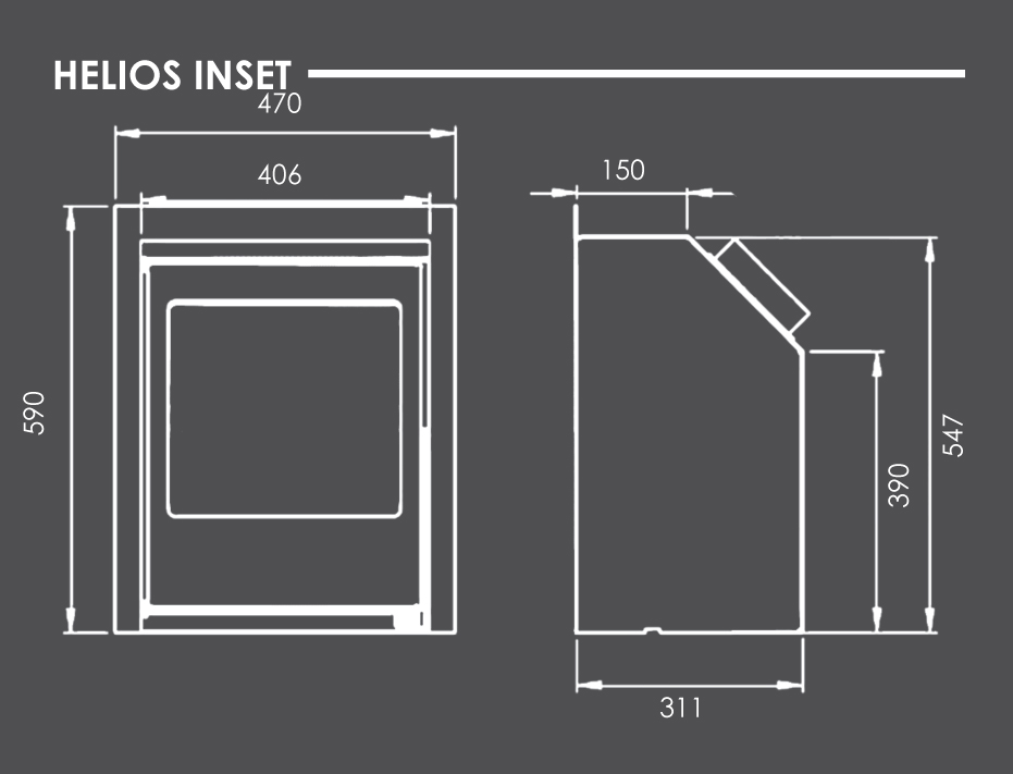 Helios Inset Stove Dimensions
