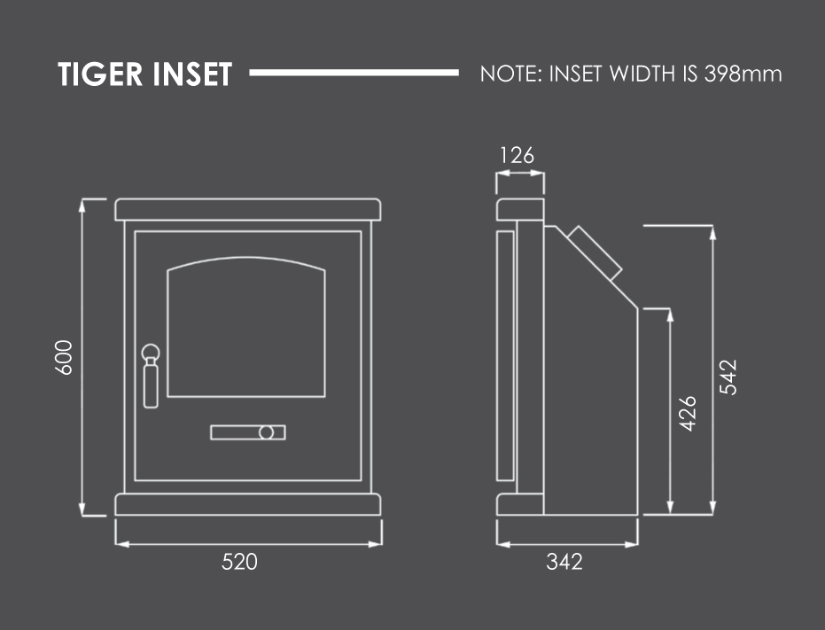 Tiger Inset Stove Dimensions